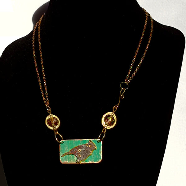 Bird Necklace in Teal - Necklace - 4