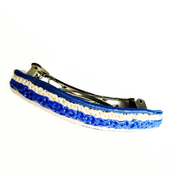 Blue and Cream handmade Barrette - Hair Accessories - 3
