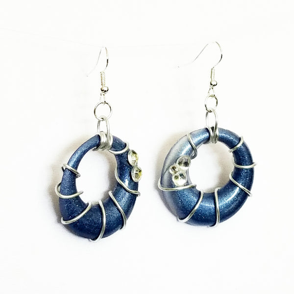 Blue and Silver Spiral Hoop Earrings