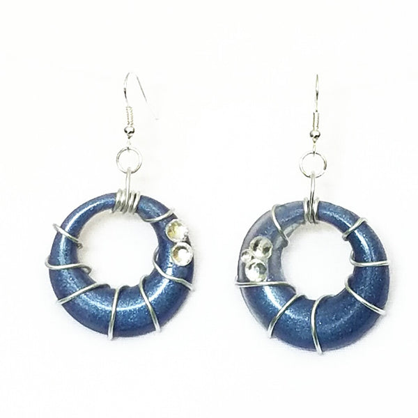 Blue and Silver Spiral Hoop Earrings - Earrings - 2