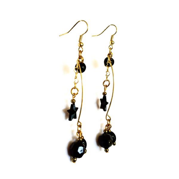 Black and Gold Dangle Earrings - Earrings - 2