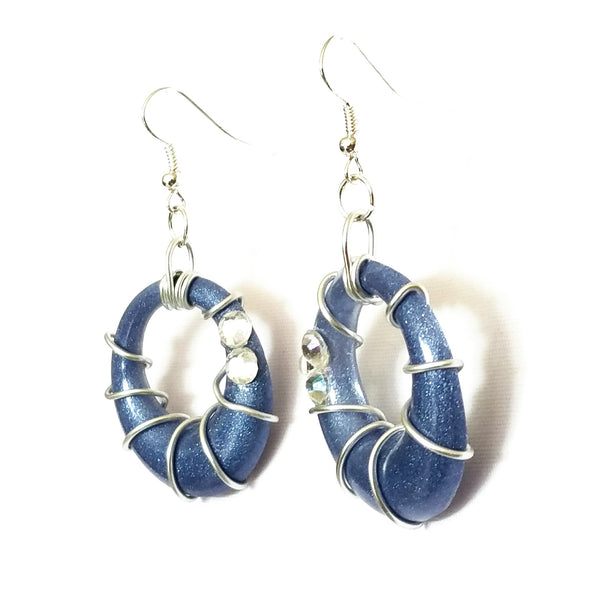 Blue and Silver Spiral Hoop Earrings - Earrings - 5