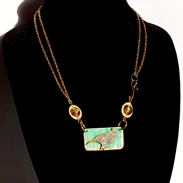Bird Necklace in Teal - Necklace - 5