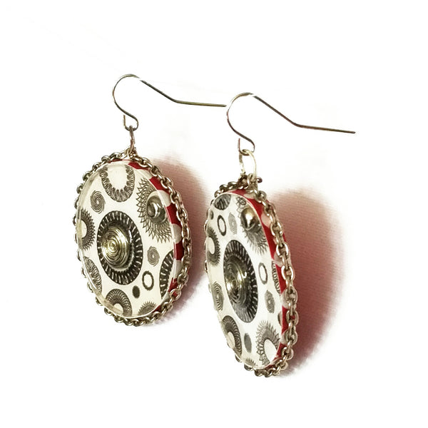 Circle Earrings with Polka Dots - Earrings - 4