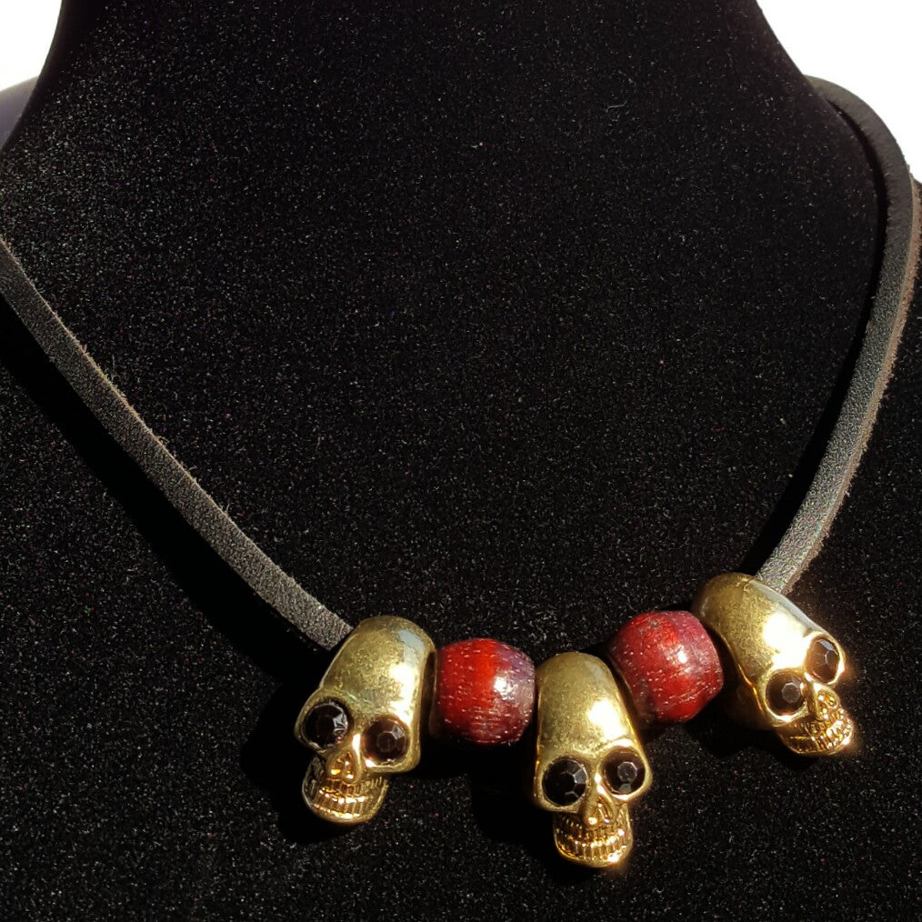 Gold skull on black leather - necklace - 1
