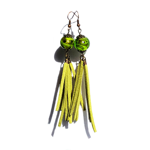 Green Suede Tassel Earrings - Earrings - 1