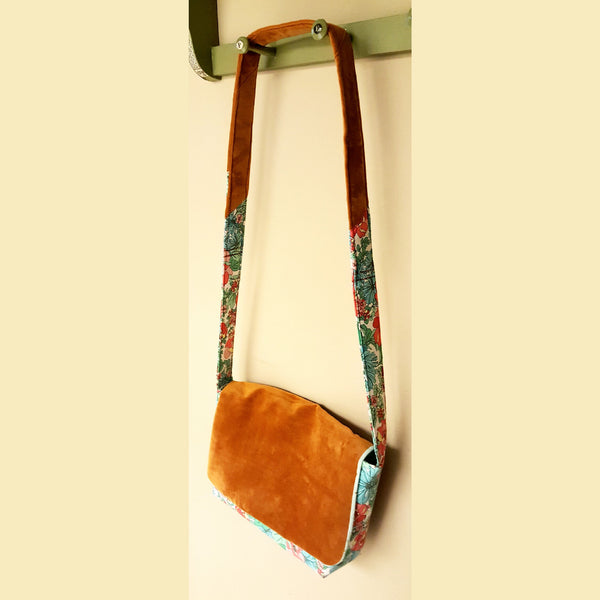 Tropical Floral and Velvet Cross Body Bag - Bag - 1
