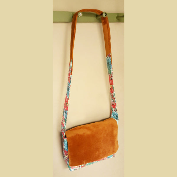 Tropical Floral and Velvet Cross Body Bag - Bag - 3