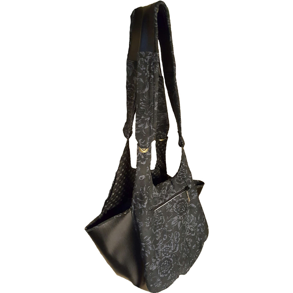 Black and Grey Faux Leather Bag - Bag - 1