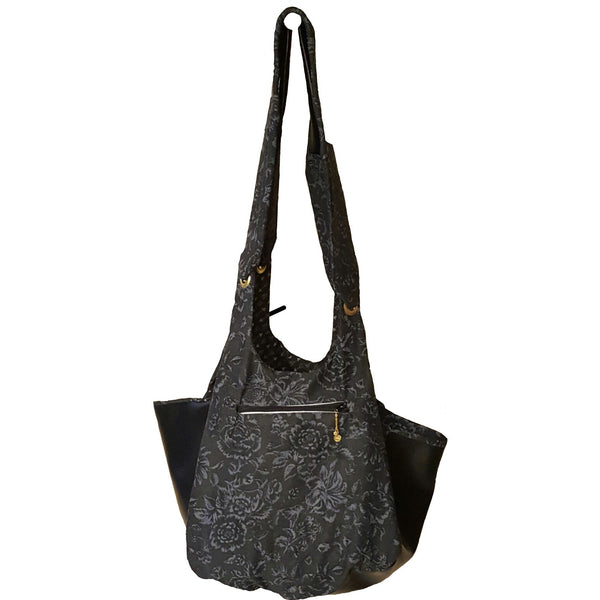 Black and Grey Faux Leather Bag - Bag - 2