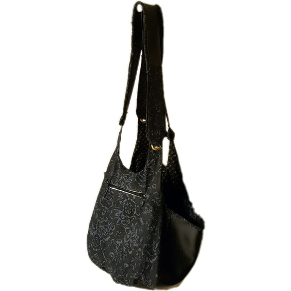 Black and Grey Faux Leather Bag