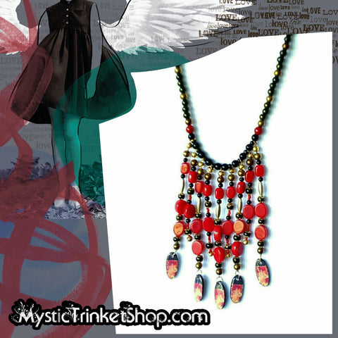 Black and Red Boho Bib Necklace - Necklace - 1