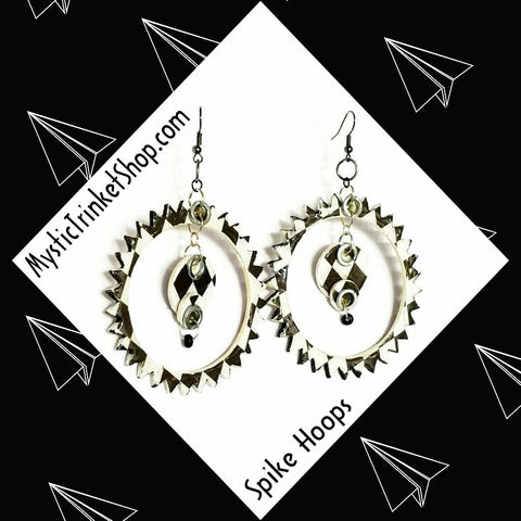 Black and White Spike Hoop Earrings - Earrings - 1