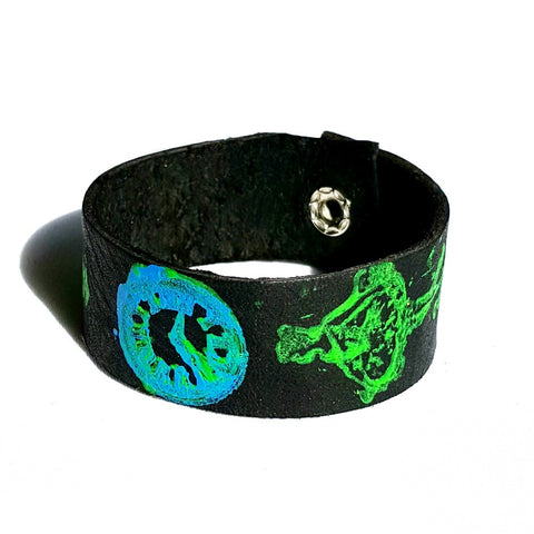 Neon Painted Black Leather Cuff