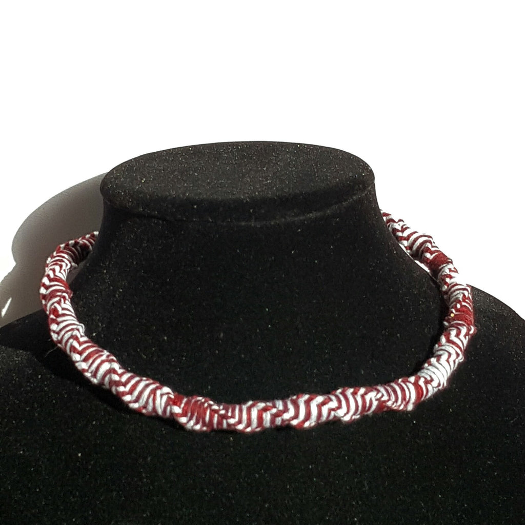 Red and White Macrame Necklace