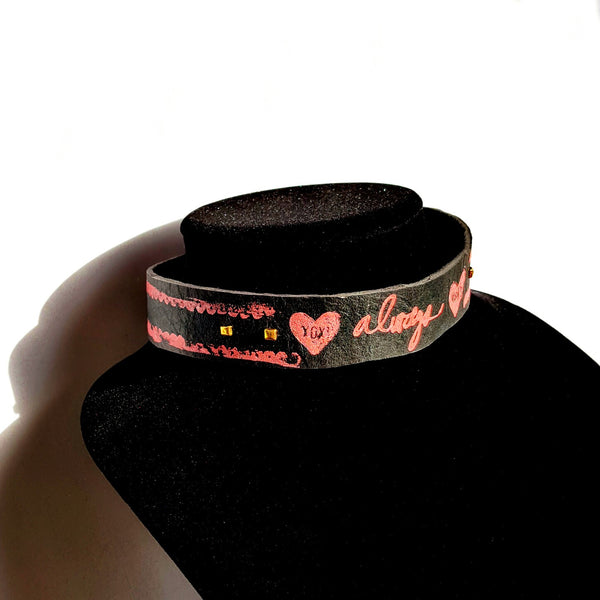 Pink and Black Leather Choker