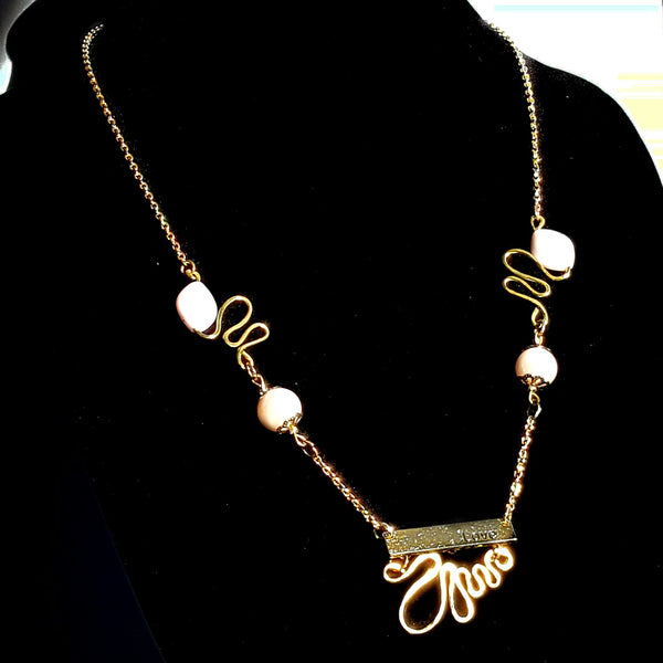Gold and Pink Love Necklace by Mystic Trinket Shop
