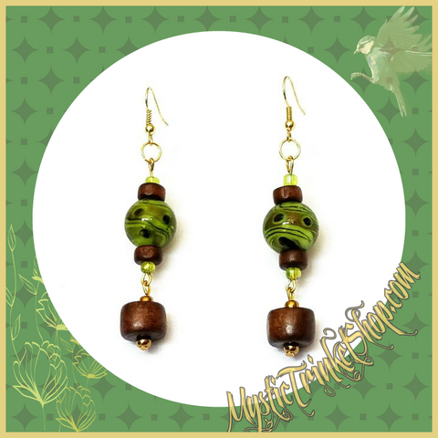 Natural Jewelry Wood and Green Glass Bead Earrings- Medeina Earrings - Earrings - 1