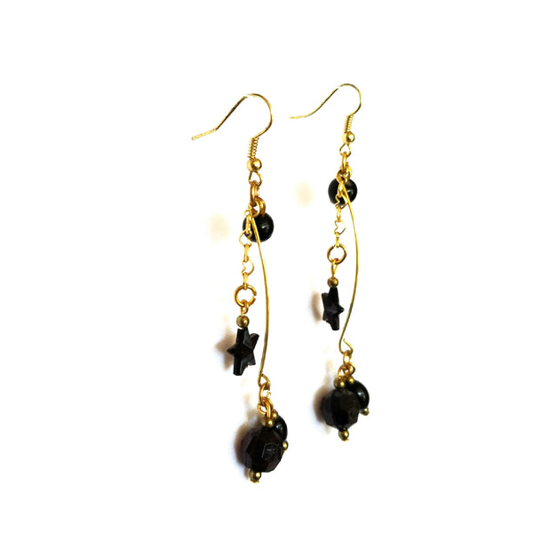 Black and Gold Dangle Earrings - Earrings - 4