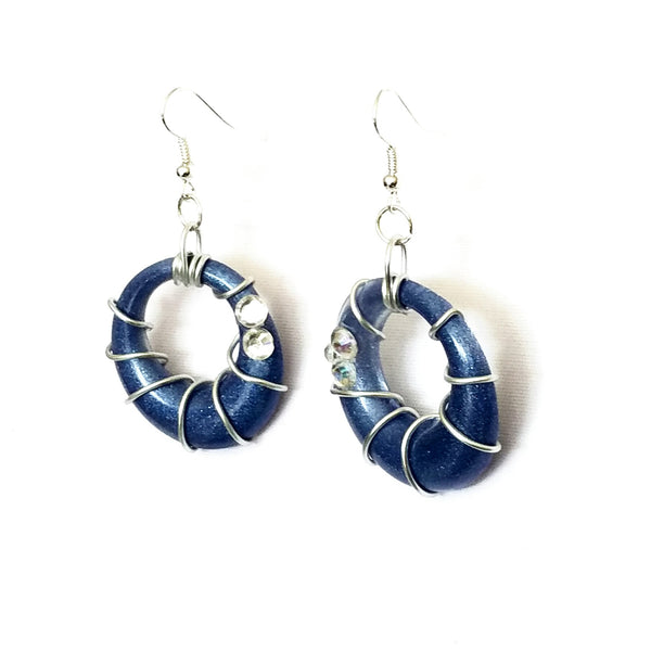 Blue and Silver Spiral Hoop Earrings - Earrings - 3