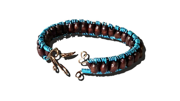 Bracelet - Blue Wire Wood Bead - Bracelet - 2