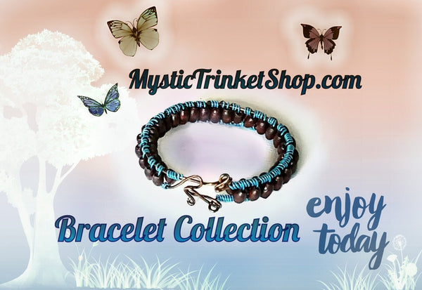 Bracelet - Blue Wire Wood Bead - Bracelet - 3