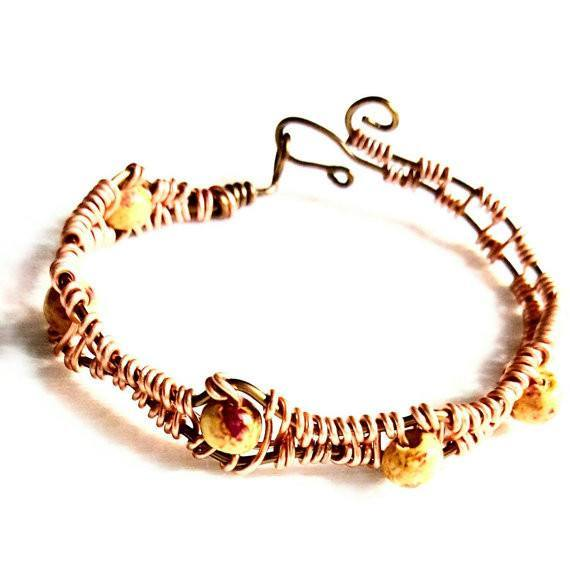 Bracelet Wood Bead and Woven Peach Wire - Bracelet - 2