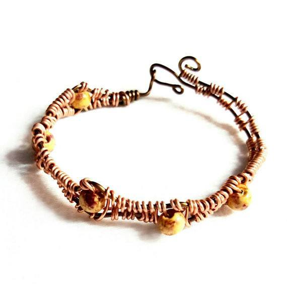 Bracelet Wood Bead and Woven Peach Wire - Bracelet - 3