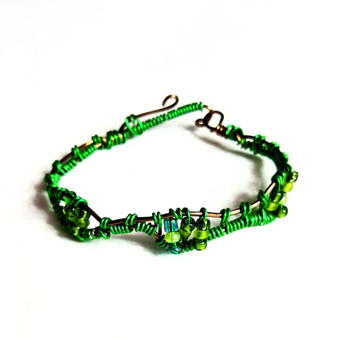 Green Wire Wrapped Bracelet - Bracelet - 1