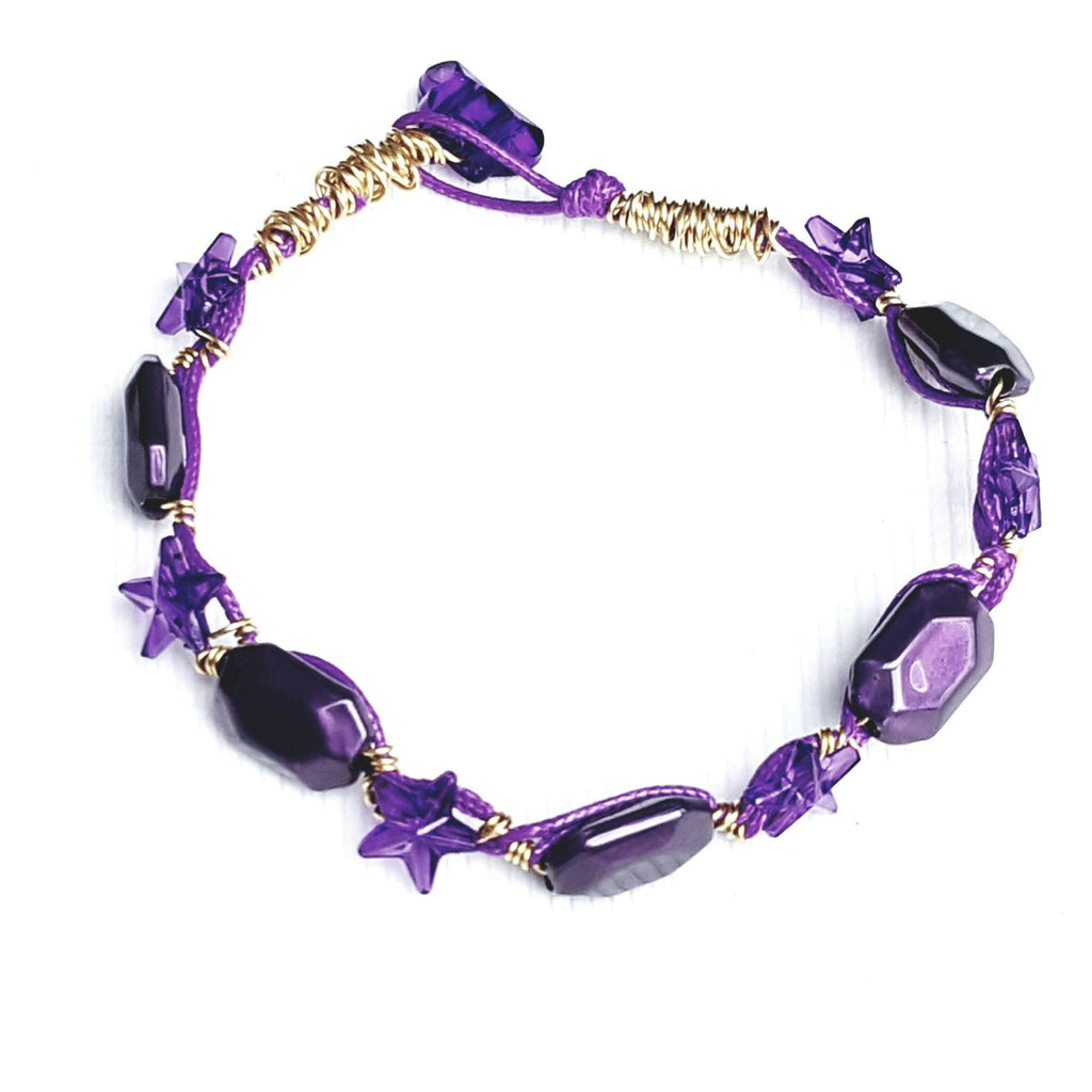 Purple and Gold Star Bracelet - Bracelet - 1