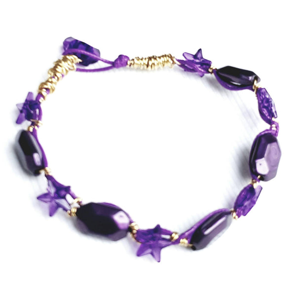 Purple and Gold Star Bracelet - Bracelet - 3