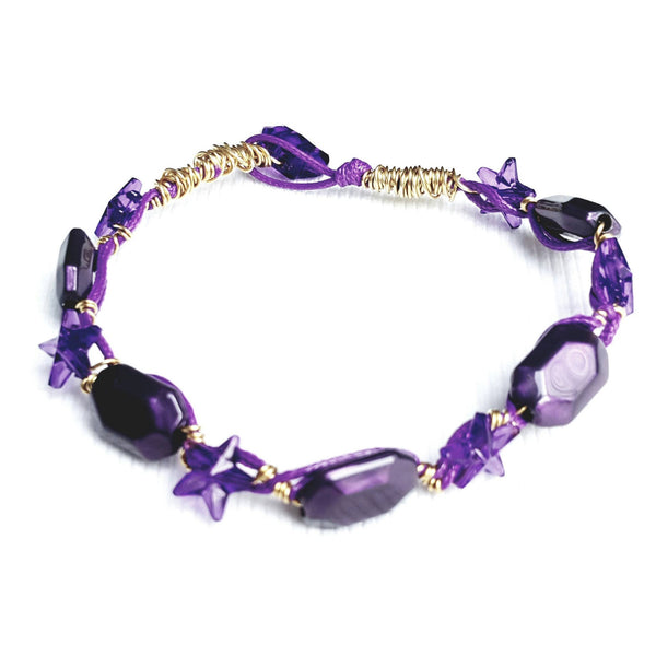 Purple and Gold Star Bracelet - Bracelet - 4