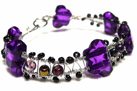 Purple and Silver Beaded Hermes Bracelet by Mystic Trinket Shop - Bracelet - 1