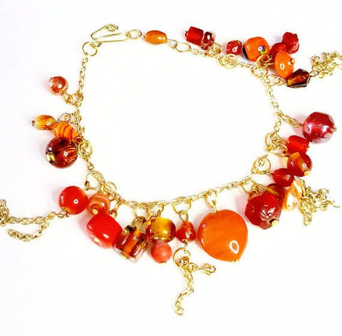 Beaded Charm Bracelet in Orange and Gold - Bracelets - 1