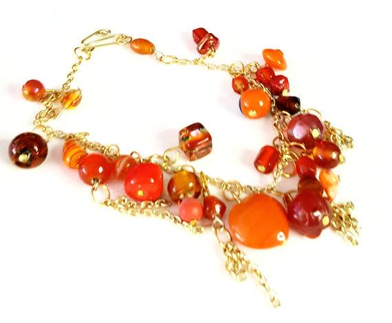 Beaded Charm Bracelet in Orange and Gold - Bracelets - 2