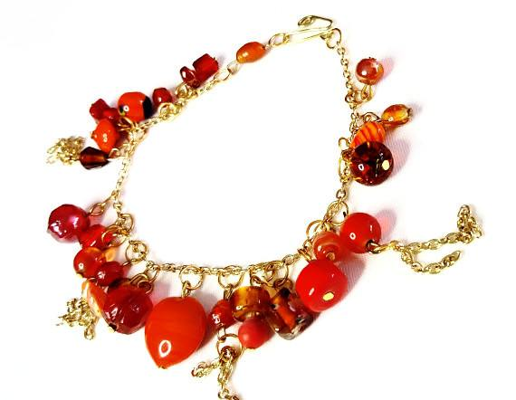 Beaded Charm Bracelet in Orange and Gold - Bracelets - 3