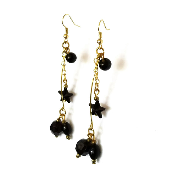 Black and Gold Dangle Earrings - Earrings - 5