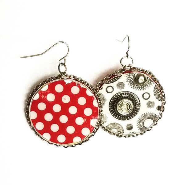 Circle Earrings with Polka Dots - Earrings - 2