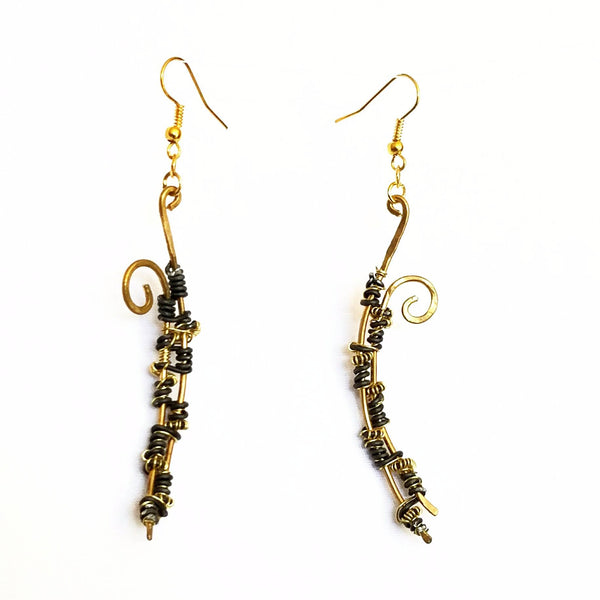 Black and Gold Dangle Earrings, Twisted Barb Wire Inspired Earrings - Earrings - 5