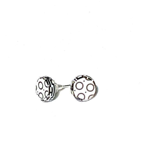 Black and White Graphic Stud Earrings - Earrings - 2