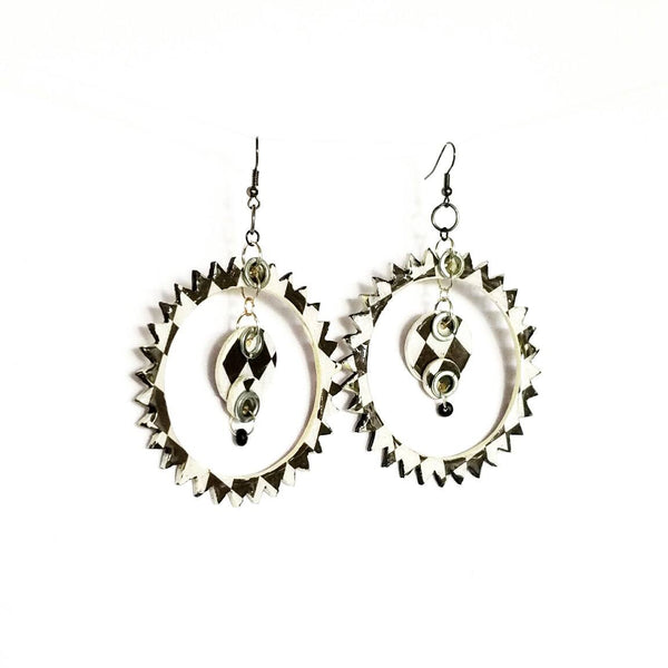 Black and White Spike Hoop Earrings - Earrings - 2