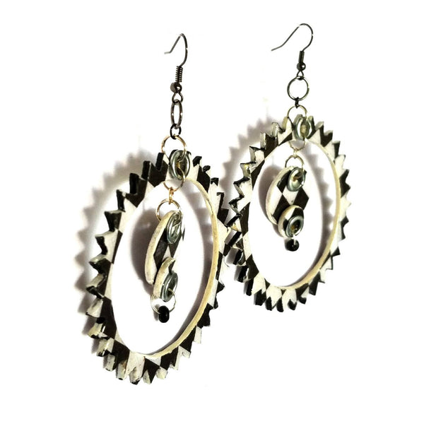Black and White Spike Hoop Earrings - Earrings - 3