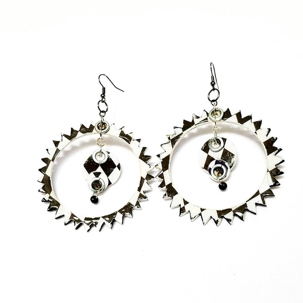 Black and White Spike Hoop Earrings - Earrings - 4