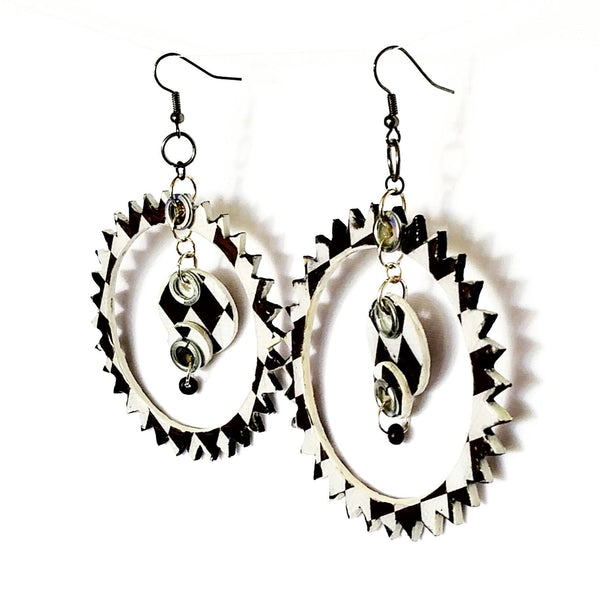 Black and White Spike Hoop Earrings - Earrings - 5