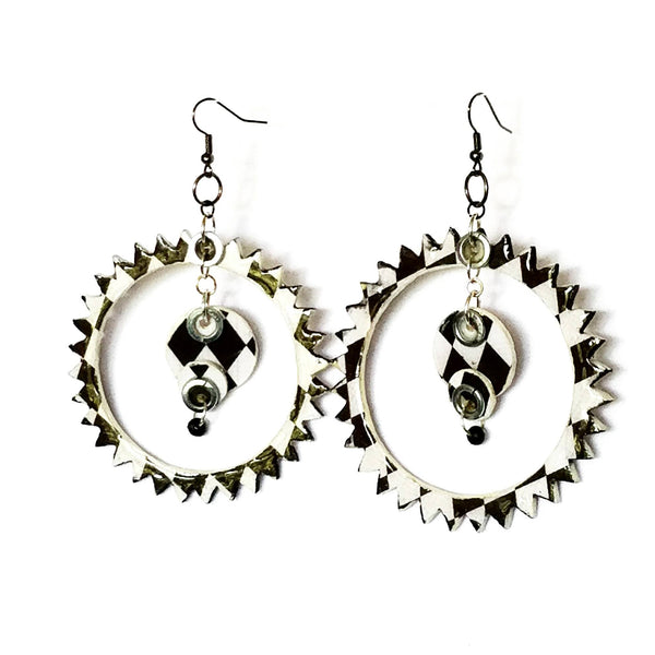 Black and White Spike Hoop Earrings - Earrings - 6