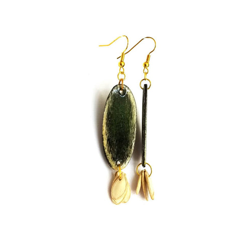 Black Wood and Seed Earrings - Earrings - 1