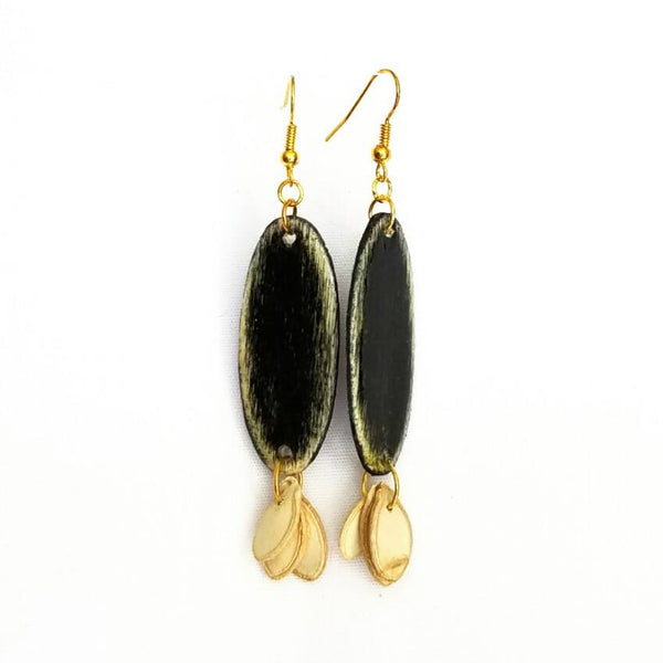 Black Wood and Seed Earrings - Earrings - 2