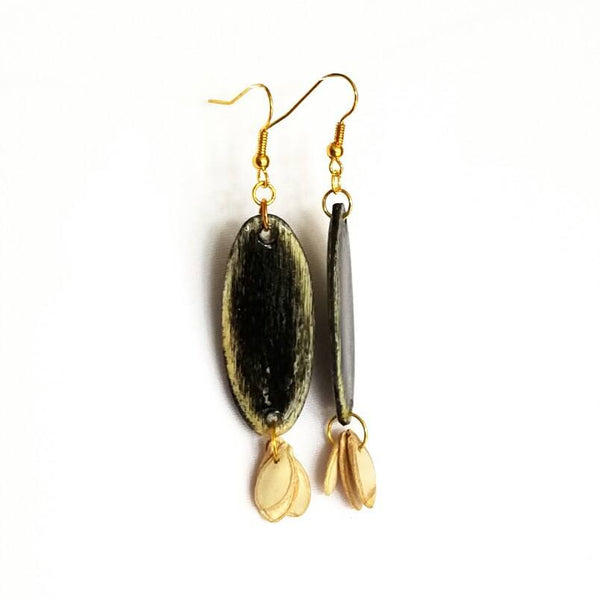 Black Wood and Seed Earrings - Earrings - 4