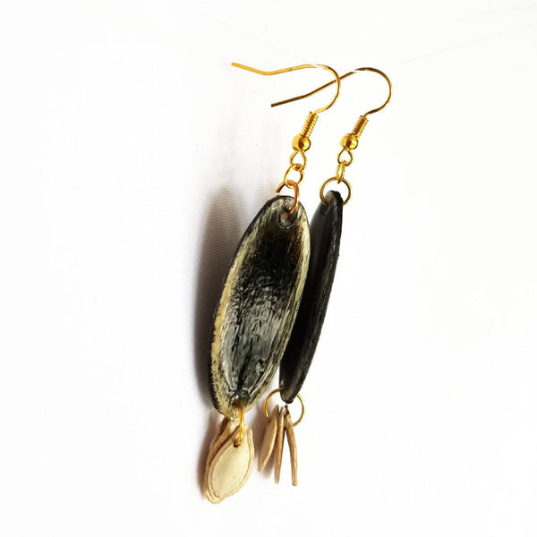 Black Wood and Seed Earrings - Earrings - 5