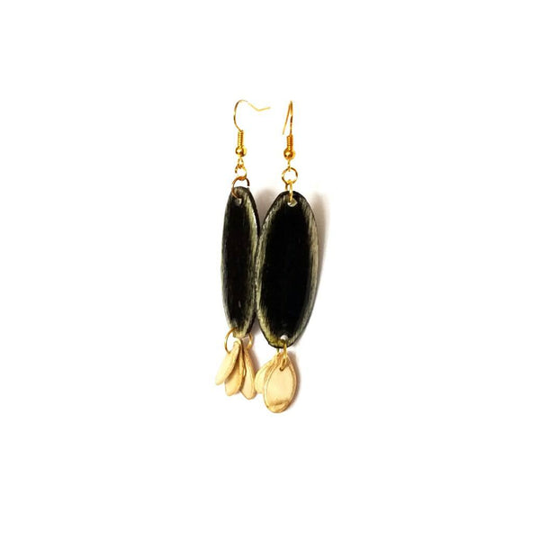 Black Wood and Seed Earrings - Earrings - 6